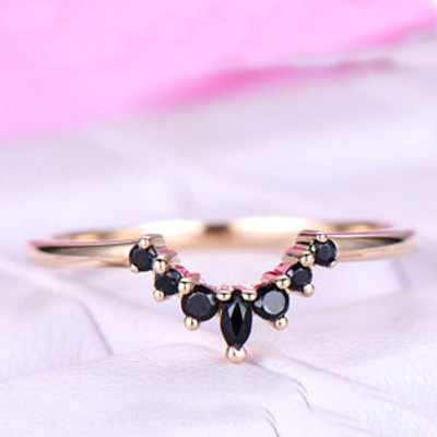 Chevron Black Marquise Black Onyx Wedding Band/14k Yellow Gold/Marquise Band/Anniversay promise ring/Stackable/Petite Pave/Art Deco Curved