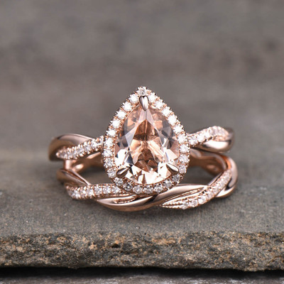 Infinity Morganite Bridal Set Rose Gold