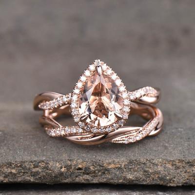 Infinity Morganite Bridal Set Rose Gold