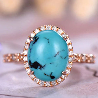 Oval Cut Turquoise Engagement Ring