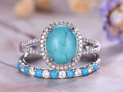 8x10mm Oval Cut Turquoise Engagement Ring Set