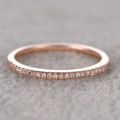 Diamond Wedding Rings For Her 14k Rose Gold-BBBGEM Diamond 1/2 Half Band