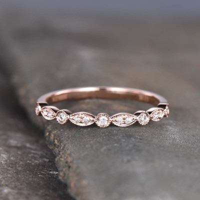 women's diamond wedding band rose gold