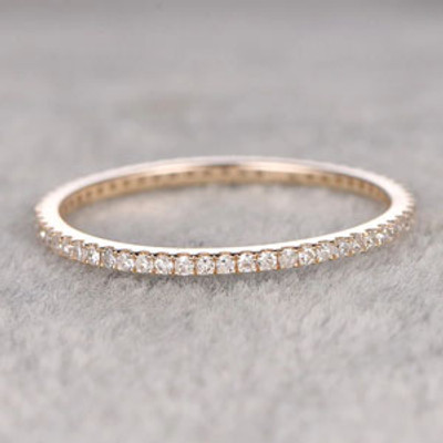 Diamond Wedding Rings For Her 14k Yellow Gold Thin Pave Full Eternity Band Annivery Ring