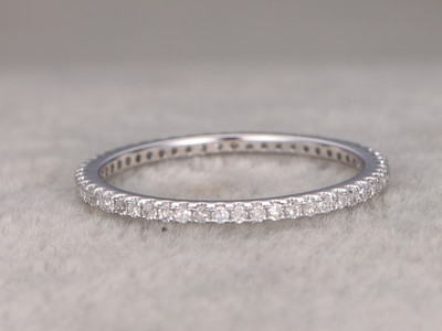 White Gold Diamond Wedding Rings For Her Thin Pave Full Eternity Band 14k Annivery Ring