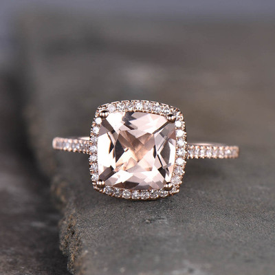 Cushion Cut Morganite Engagement Ring
