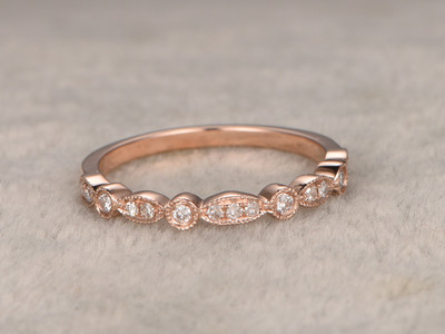 Diamond Wedding Rings For Her 14k Rose Gold Antique Center 3 stones Art Deco Half Eternity Band Milgrain
