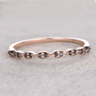 Black Diamond Wedding Rings 14k Rose Gold Antique Art Deco Half Eternity Band Marquise Set Annivery