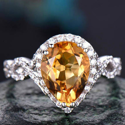 6x9mm citrine birthstone promise ring for her 0