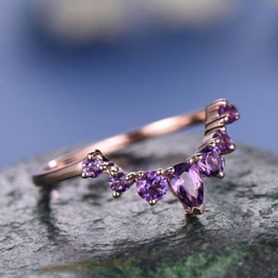 Natural Amethyst wedding ring women-solid 14k Rose gold-handmade unique ring-half eternity-Petite Curved Matching amethyst promise ring