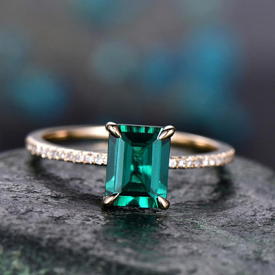 emerald cut emerald engagement rings-BBBGEM Emerald Solitaire Ring