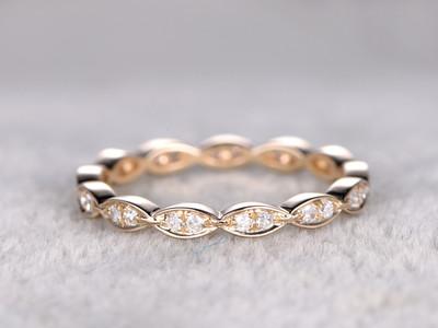 Diamond Wedding Ring 14k Yellow Gold Full Eternity