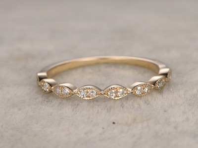 Round Diamond Wedding Ring 14k Yellow Gold Half Eternity Band Antique Art Deco Marquise Shape