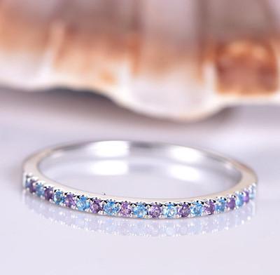 Amethyst Wedding Ring-BBBGEM Amethyst And Topaz Ring