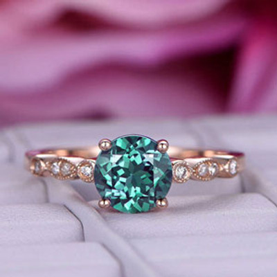 Alexandrite Engagement ring Rose gold diamond band Bart-Ring-5300