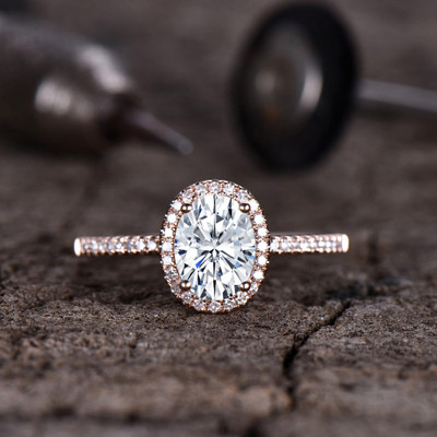 Forever One Moissanite Engagement ring Halo