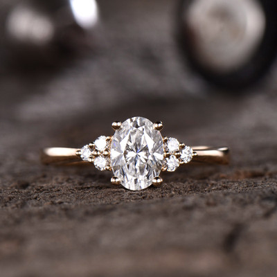 Oval Forever One Moissanite Engagement ring