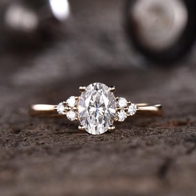 Oval Forever One Moissanite Engagement ring-BBBGEM Oval Moissanite Engagement Ring