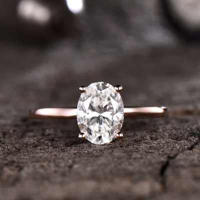 Forever One Moissanite Engagement ring Oval Rose Gold 6x8mm Moissanite Solitaire Ring 1.5 carat near-colorness gemstone Solid 14K/18K