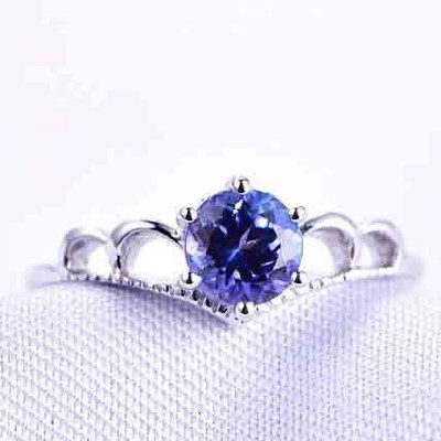 5.5mm Round Cut Lab Blue Sapphire Engagement Ring 0