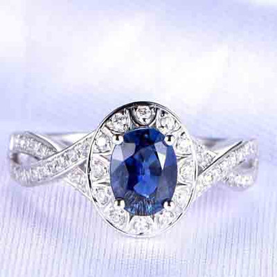 Infinity blue sapphire engagement ring 0