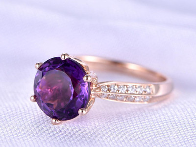 amethyst solitaire engagement ring 6-prong