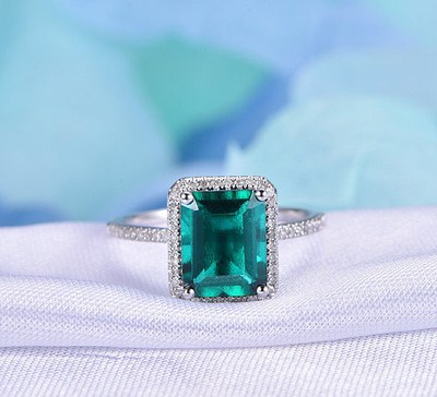 7x9mm emerald cut emerald engagement rings