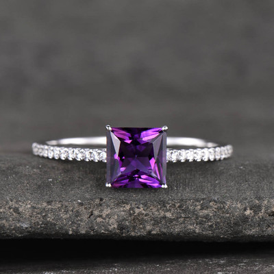 Amethyst Engagement Ring Diamond 14k White Gold Princess Purple February Birthstone Promise Ring