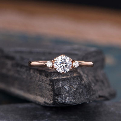Rose Gold Moissanite Engagement Ring