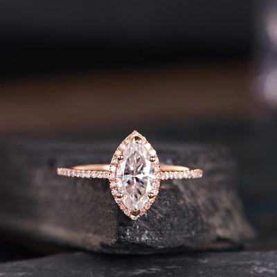Moissanite Engagement Ring Marquise Shaped