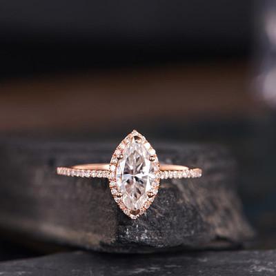 Marquise Moissanite Ring-BBBGEM Moissanite Engagement Rings