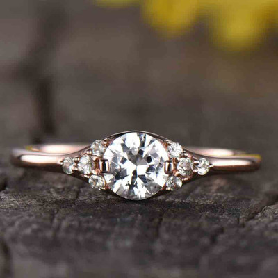 cluster white sapphire engagement ring rose gold 0