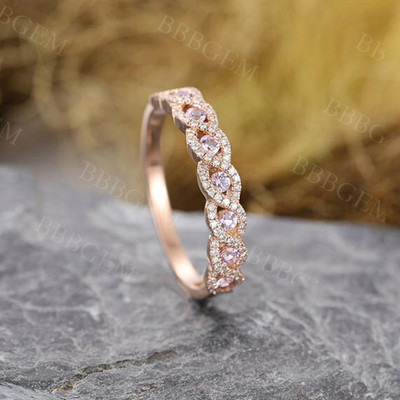 Diamond wedding Band Vintage Pink sapphire wedding band Gift for Women Unique Antique Half Eternity Stacking Bridal set Jewelry Anniversary