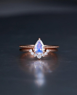 Pear Shaped Curved Milgrain Moonstone Engagement Ring Rose gold