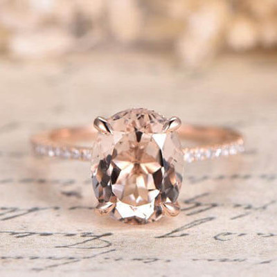 8x10mm Morganite Engagement Ring Bottom Diamond HALO 14K/18K Rose Gold