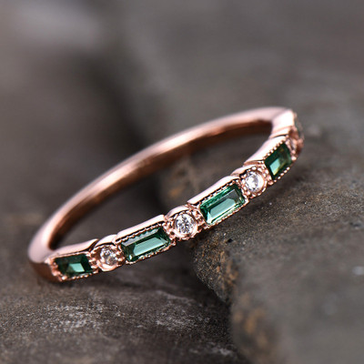 Silver Emerald Wedding Rings