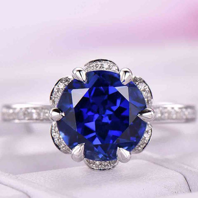 Art Deco Halo Blue Sapphire Diamond Engagement Ring 0