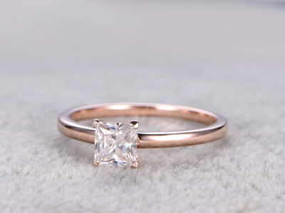 Moissanite Princess Cut Engagement Ring Rose Gold Solitaire Promise Ring For Her 14k/18k