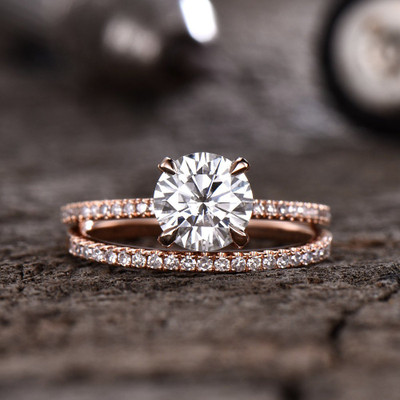 Forever One Moissanite Engagagement Ring Rose Gold