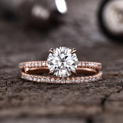 Forever One Moissanite Engagagement Ring Rose Gold-BBBGEM Moissanite Engagement Rings