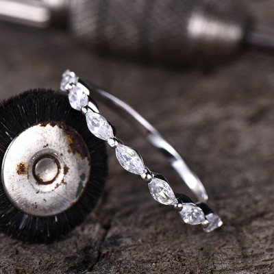 Forever One Marquoise Moissanite Wedding  Ring