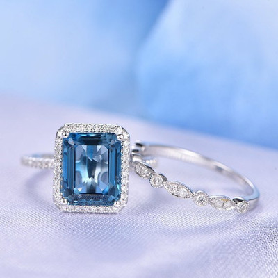 London Blue Topaz Engagement Ring Set