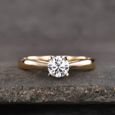 moissanite engagement ring yellow gold