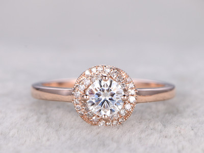 Moissanite Diamond Engagement Rings Rose Gold 14k/18k 0.5 Carat Stone Halo Flower Stacking Promise Ring