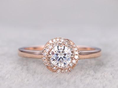 Moissanite Diamond Engagement Rings Rose Gold 14k/18k 0.5 Carat Stone Halo Flower Stacking Promise Ring