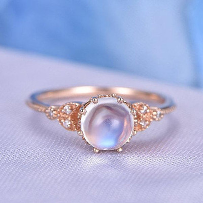 Personalized Rainbow Blue Moonstone Engagement Rings