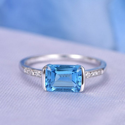 Swiss Blue East To West Topaz Rings