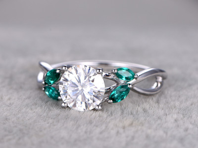 1 Carat Vintage Moissanite Engagement Rings Emerald Promise Ring White Gold 14k/18k Marquise Shaped Stones