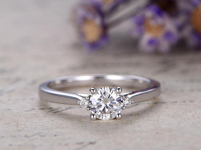 0.5 Carat moissanite engagement rings white gold three stones