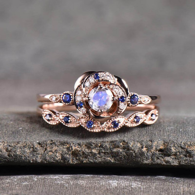 Moonstone Engagement ring Set